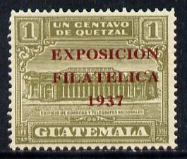 Guatemala 1937 1c olive (GPO Building) opt