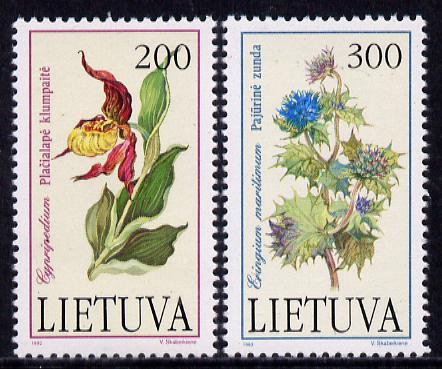 Lithuania 1992 Red Book (Flowers) set of 2 unmounted mint, SG 504-05