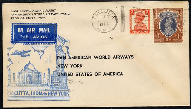 India 1947 Pan American Airways First Clipper Air Mail Flight cover to USA with special