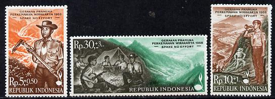 Indonesia 1968 Scout Camp set of 3 unmounted mint, SG 1195-97*