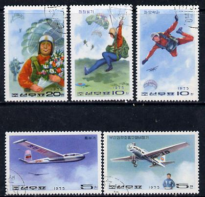North Korea 1975 National Defence perf set of 5 (Aircraft & Parachutes) fine cto used SG N1440-44
