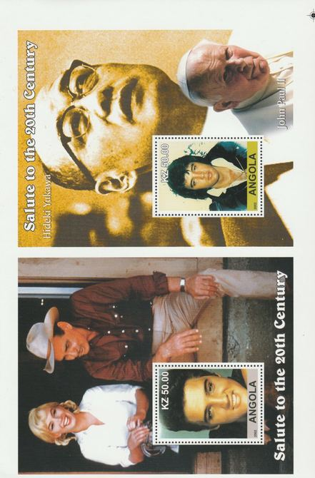 Angola 2002 uncut proof pair of perforated m/sheets (Elvis, Yukawa & Pope John Paul) unmounted mint. Note this item is privately produced and is offered purely on its the...