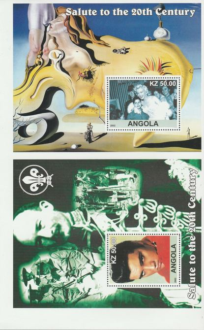 Angola 2002 uncut proof pair of perforated m/sheets (Elvis, Dali, Scouts & Marilyn) unmounted mint. Note this item is privately produced and is offered purely on its them...