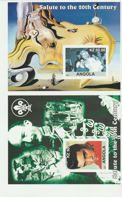 Angola 2002 uncut proof pair of imperf m/sheets (Elvis, Dali, Scouts & Marilyn) unmounted mint. Note this item is privately produced and is offered purely on its thematic...