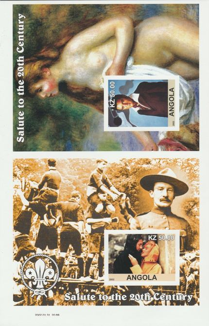 Angola 2002 uncut proof pair of imperf m/sheets (Elvis, Scouts & Renoir) unmounted mint. Note this item is privately produced and is offered purely on its thematic appeal  (overall size 230 x 155 mm)
