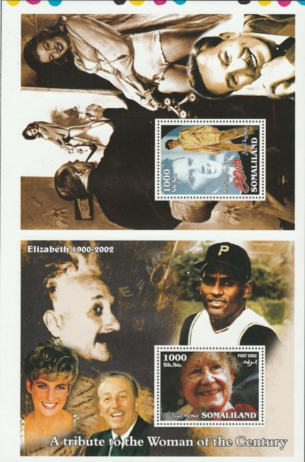 Somaliland 2002 uncut proof pair of perforated m/sheets (Elvis, Walt Disney, Einstein, Diana, Queen Mother & Marilyn) unmounted mint. Note this item is privately produced and is offered purely on its thematic appeal  (overall size approx 230 x 155 mm)  This item has no postal validity