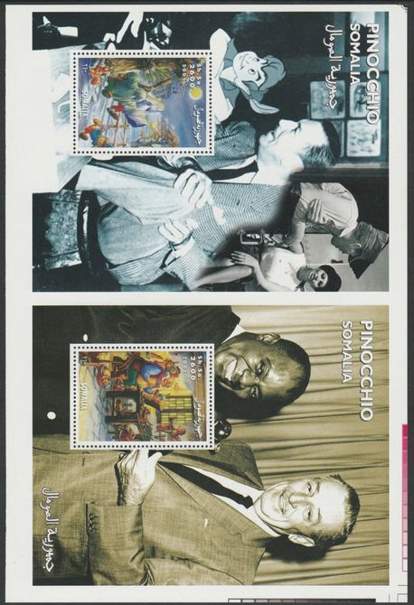 Somalia 2001 uncut proof pair of perforated m/sheets (Walt Disney, Pinocchio & Louis Armstrong) unmounted mint. Note this item is privately produced and is offered purely on its thematic appeal  (overall size 230 x 155 mm)