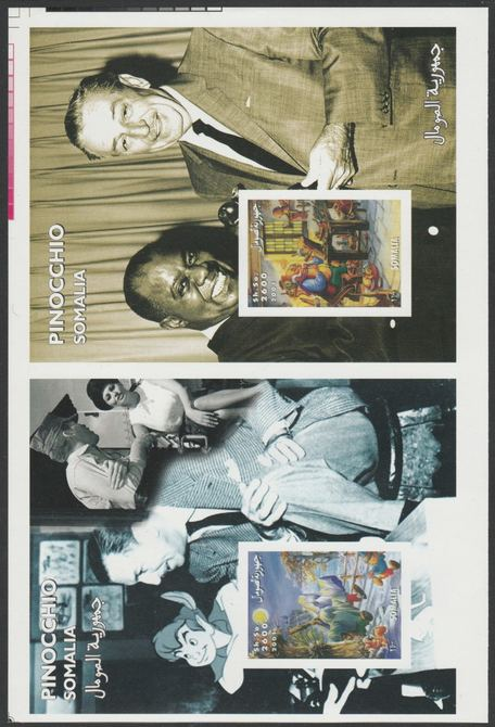 Somalia 2001 uncut proof pair of imperf m/sheets (Walt Disney, Pinocchio & Louis Armstrong) unmounted mint. Note this item is privately produced and is offered purely on its thematic appeal  (overall size 230 x 155 mm)