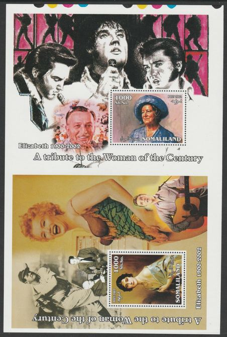 Somaliland 2002 uncut proof pair of perforated m/sheets (Elvis, Baseball, Marilyn, Walt Disney & Queen Mother) unmounted mint. Note this item is privately produced and is offered purely on its thematic appeal  (overall size approx 230 x 155 mm)  This item has no postal validity