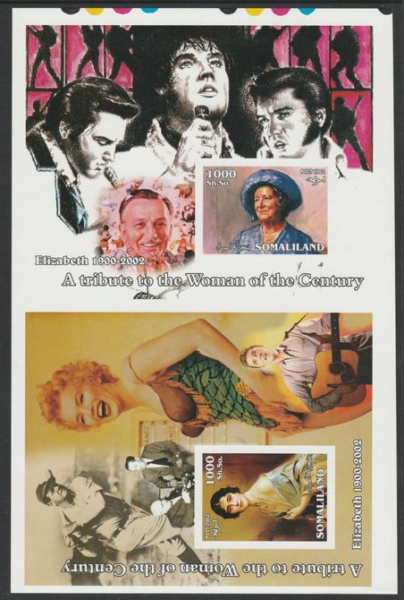 Somaliland 2002 uncut proof pair of imperf m/sheets (Elvis, Baseball, Marilyn, Walt Disney & Queen Mother) unmounted mint. Note this item is privately produced and is offered purely on its thematic appeal  (overall size approx 230 x 155 mm)  This item has no postal validity