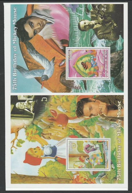 Benin 2003 uncut proof pair of perforated m/sheets (Walt Disney, Mickey Mouse & Elvis) unmounted mint. Note this item is privately produced and is offered purely on its thematic appeal  (overall size 230 x 155 mm)