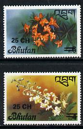 Bhutan 1978 Flowers (2 vals) from Prov Surcharge set of 26 of which only 2,600 sets were issued, unmounted mint SG 408-09, Mi 703-04*