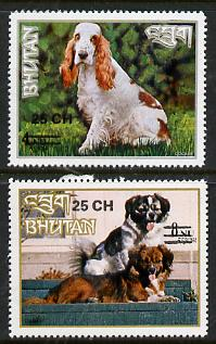 Bhutan 1978 Dogs (2 vals) from Prov Surcharge set of 26 of which only 2,600 sets were issued, unmounted mint SG 392-93, Mi 691-92*