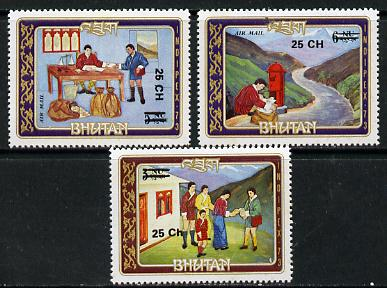 Bhutan 1978 Indipex (Postmen etc, 3 vals) from Prov Surcharge set of 26 of which only 2,600 sets were issued, unmounted mint SG 394-96, Mi 693 & 710-11*
