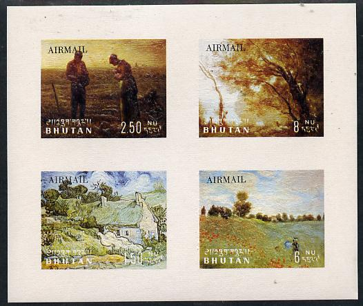 Bhutan 1968 Paintings (Air Mail set of 4 in m/sheet relief printed) unmounted mint Mi BL 18