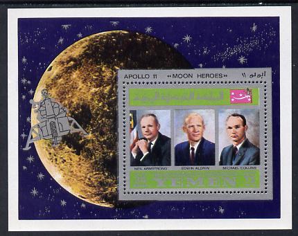 Yemen - Royalist 1969 Moon Landing m/sheet showing the three Astronauts unmounted mint