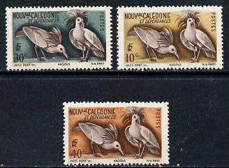 New Caledonia 1948 Birds (Kagus) 3 values from def set of 22, SG 306-08 unmounted mint*