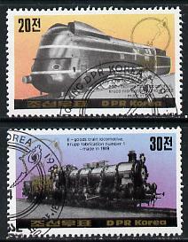 North Korea 1984 Essen Stamp fair - Railway Locomotives perf set of 2 cto used SG  N2397-98