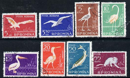 Rumania 1957 Fauna of the Danube perf set of 8 cto used, Mi 1686-93, SG 2552-59*