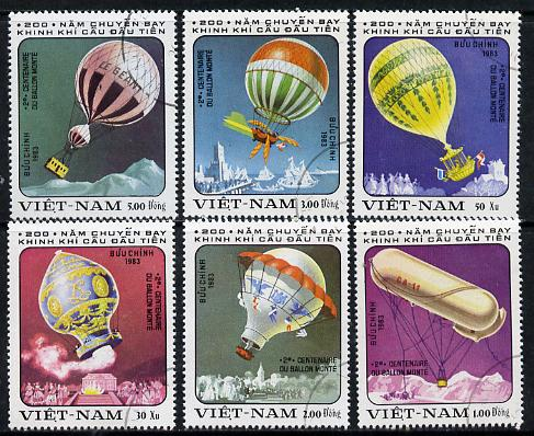 Vietnam 1983 Bicentenary of Manned Flight (Balloons) cto used short set of 6, SG 544-49