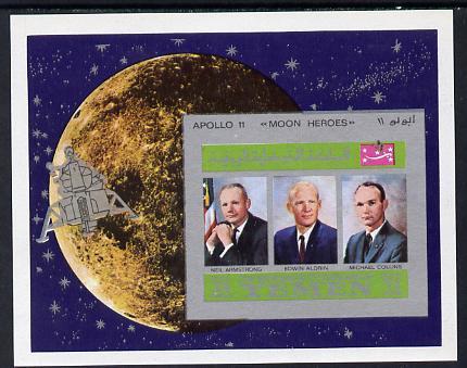 Yemen - Royalist 1969 Moon Landing imperf m/sheet showing the three Astronauts unmounted mint