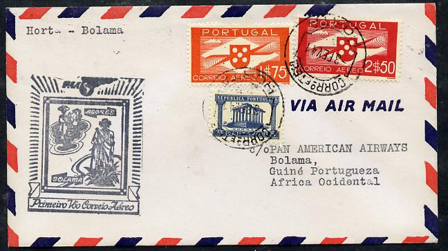 Portugal 1941 Pan American Airways First Clipper Air Mail Flight cover to Portuguese West Africa with special 'Azores' Illustrated Cachet, endorsed Horta to Bolama