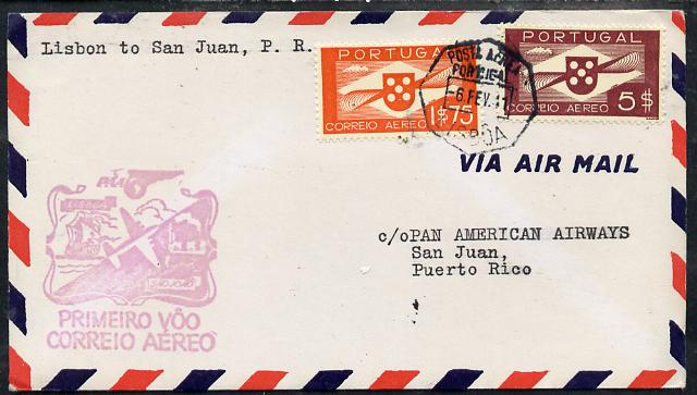 Portugal 1941 Pan American Airways First Clipper Air Mail Flight cover to Puerto Rico with special 'Lisbon to San Juan' Illustrated Cachet