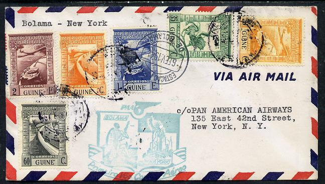 Portugal 1941 Pan American Airways First Clipper Air Mail Flight cover to USA with special 'Bolama to New York' Illustrated Cachet (Statue of Liberty)