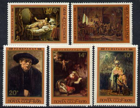Russia 1976 370th Birth Anniversary of Rembrandt set of 5 unmounted mint SG 4591-95, Mi 4551-55*