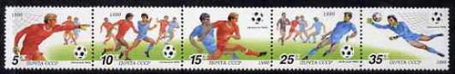 Russia 1990 Football World Cup se-tenant strip of 5 unmounted mint, SG 6144-48, Mi 6088-92