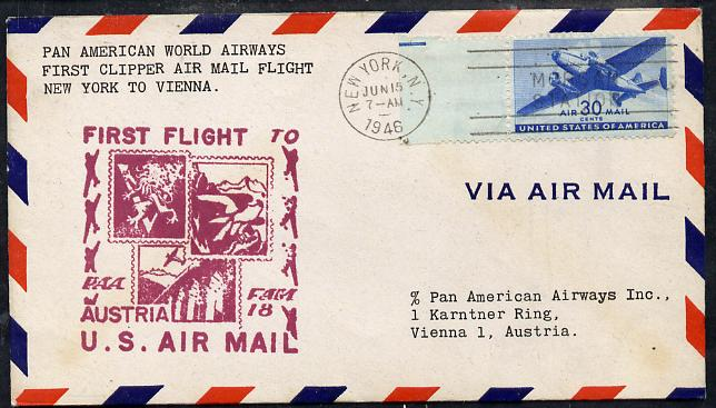 United States 1946 Pan American Airways First Clipper Air Mail Flight cover to Austria (Vienna) with special illustrated (Stamps) Cachet and bearing 30c Airmail adhesive