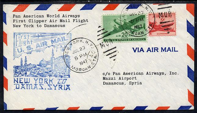 United States 1946 Pan American Airways First Clipper Air Mail Flight cover to Syria (Damascus) with special illustrated Cachet and bearing 20c & 5c Airmail adhesives