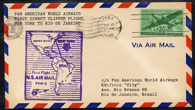 United States 1946 Pan American Airways First Clipper Air Mail Flight cover to Brazil (Rio de Janeiro) with special illustrated Cachet (Map of Route) and bearing 20c Airmail adhesive