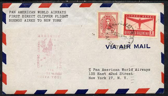 Argentine Republic 1946 Pan American Airways First Clipper Air Mail Flight cover Buenos Aires to New York with special illustrated Cachet