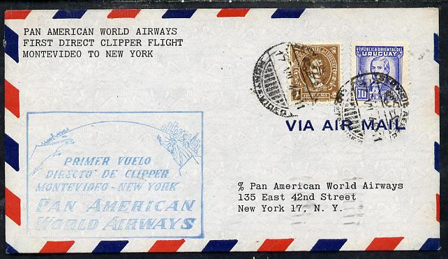 Uruguay 1946 Pan American Airways First Clipper Air Mail Flight cover Montevideo to New York with special illustrated Cachet