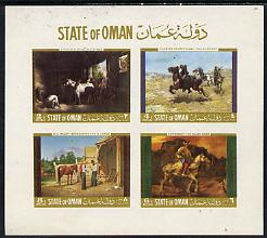 Oman 1968 Paintings of Horses imperf m/sheet containing set of 4 unmounted mint