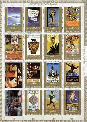 Umm Al Qiwain 1972 History of Olympics sheetlet containing 16 values cto used (Mi 1098-1113A)