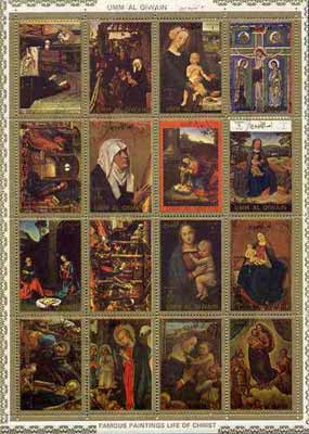 Umm Al Qiwain 1972 Paintings (Life of Christ #2) sheetlet containing 16 values cto used (Mi 1162-77A)