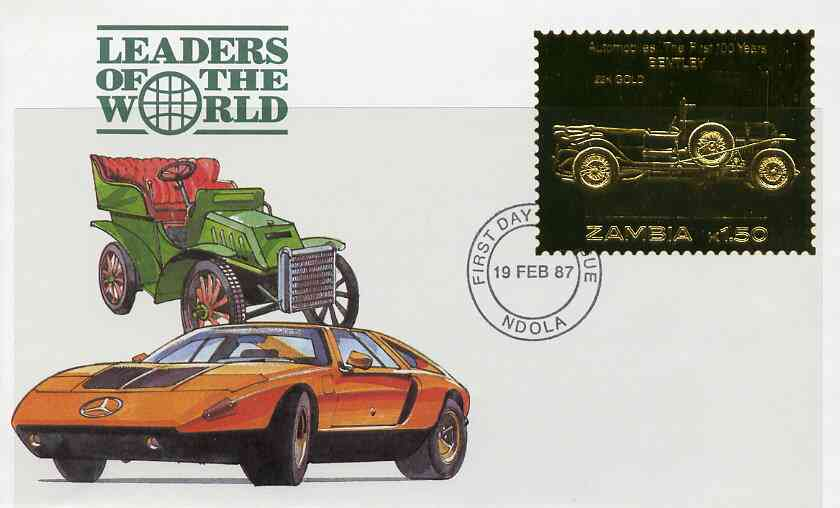 Zambia 1987 Classic Cars 1k50 Bentley in 22k gold foil on cover with first day of issue cancel, limited edition and very elusive