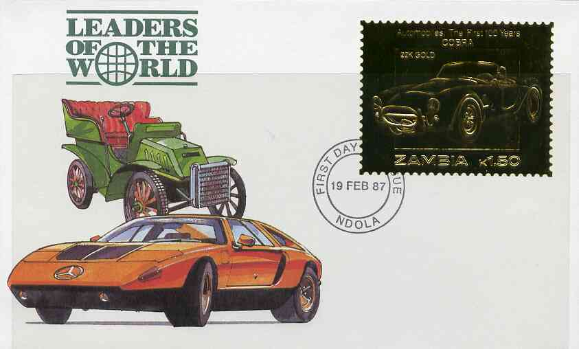 Zambia 1987 Classic Cars 1k50 Cobra in 22k gold foil on cover with first day of issue cancel, limited edition and very elusive