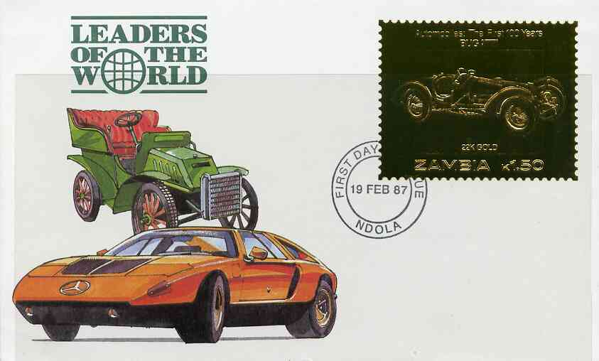 Zambia 1987 Classic Cars 1k50 Bugatti in 22k gold foil on cover with first day of issue cancel, limited edition and very elusive