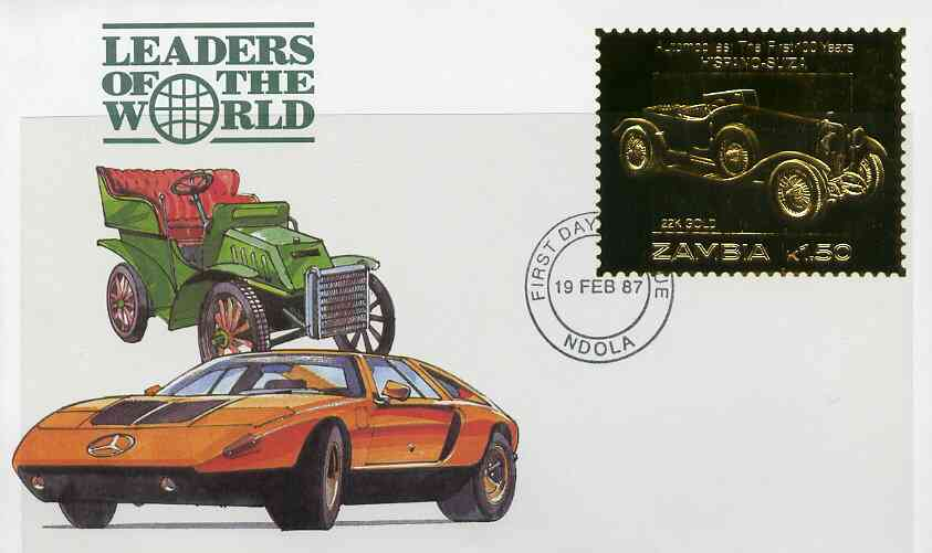 Zambia 1987 Classic Cars 1k50 Hispano-Suiza in 22k gold foil on cover with first day of issue cancel, limited edition and very elusive