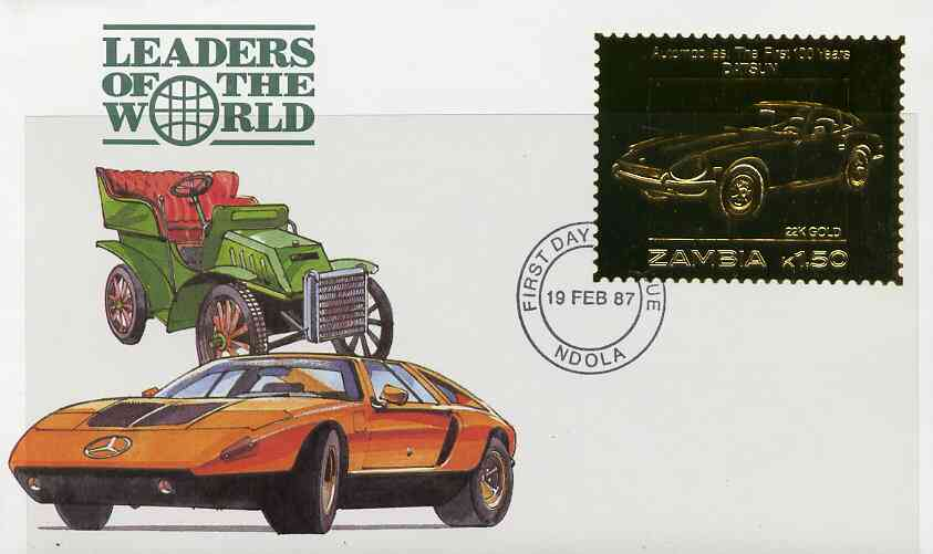 Zambia 1987 Classic Cars 1k50 Datsun in 22k gold foil on cover with first day of issue cancel, limited edition and very elusive