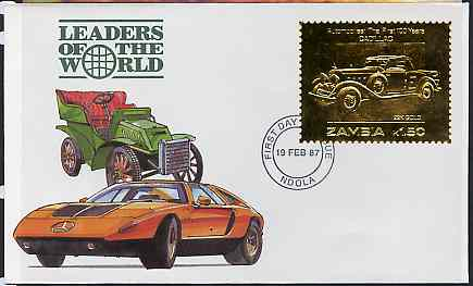 Zambia 1987 Classic Cars 1k50 Cadillac in 22k gold foil on cover with first day of issue cancel, limited edition and very elusive