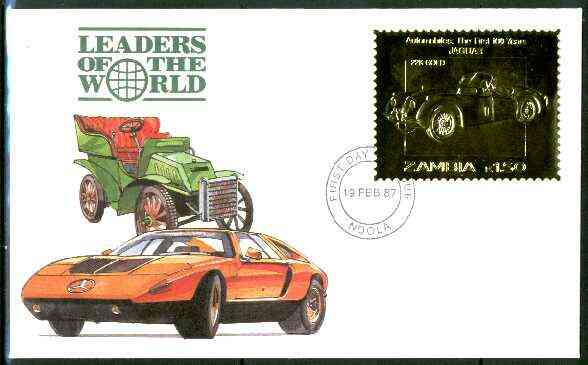 Zambia 1987 Classic Cars 1k50 Jaguar in 22k gold foil on cover with first day of issue cancel, limited edition and very elusive