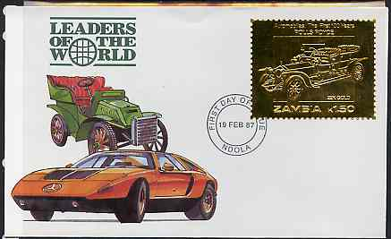 Zambia 1987 Classic Cars 1k50 Rolls Royce in 22k gold foil on cover with first day of issue cancel, limited edition and very elusive