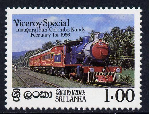 Sri Lanka 1986 Inaugural Run of 'Viceroy Special' Train unmounted mint, SG 924