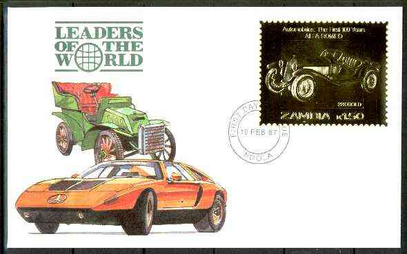Zambia 1987 Classic Cars 1k50 Alfa Romeo in 22k gold foil on cover with first day of issue cancel, limited edition and very elusive