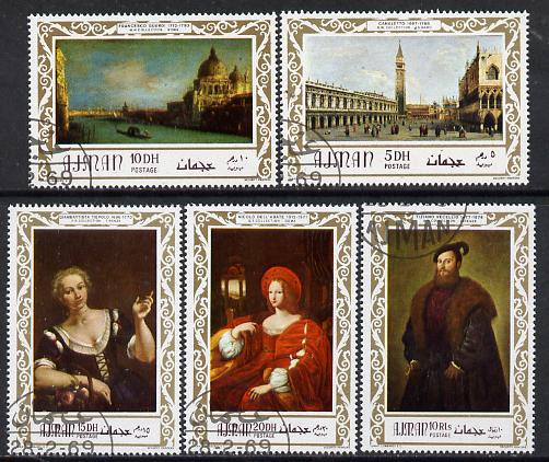 Ajman 1969 Italian Old Masters set of 5 cto used, Mi 419-23