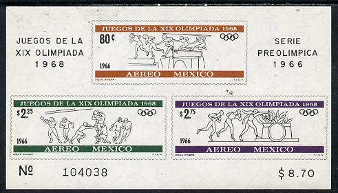 Mexico 1965 Olympic Games (2nd Issue - Air) imperf m/sheet showing Obstacle race, American Football & Lighting Flame, unmounted mint SG MS 1127